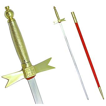 """Masonic knights templar sword with gold hilt and red scabbard 35 3/4"""" + free case"""