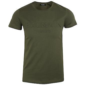 Balmain men's khaki raised logo t-shirt