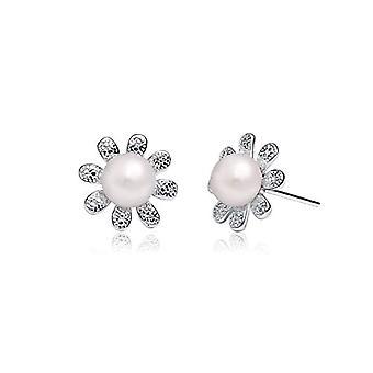 Gemshadow women 925 sterling Silver Flower 6 - 7 mm freshwater pearl earrings