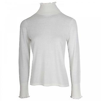Oui Cream Knitted Polo Neck Jumper