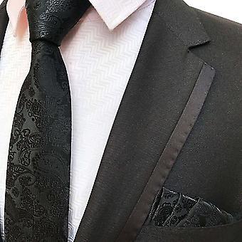 Black paisley necktie & pocket square set