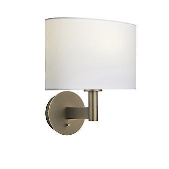Wandlamp antieke bronzen plaat, vintage witte stof ovale schaduw