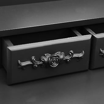 vidaXL kaptafel set met kruk Zwart 50x59x136 cm Paulownia hout