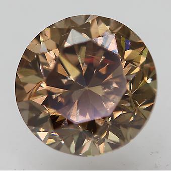 Cert 1.02 Carat Vivid Brown VVS1 Round Brilliant Enhanced Natural Diamond 6.07mm