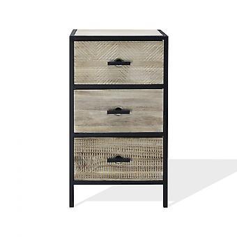 Rebecca Bedside Möbler med 3 trä- och metalllådor för sovrum 66x35x25 Cm