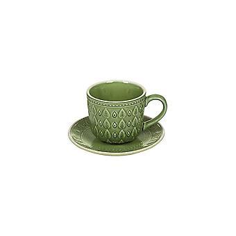 Taza con plato natural (11 x 11 x 7 cm) gres