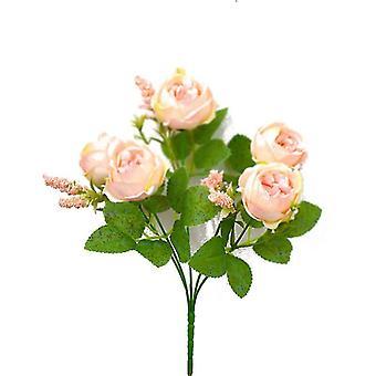 Artificial Rose Bouquet Rose Camellia Artificial Flower Artificial Flower Decorative Flower(Gold)