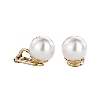 Traveller Clip Earrings With White 10mm Pearl Gold Plated - 700010 - 472