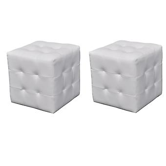 Mesa de cabeceira conjunto de bancos de 2 30x30x30 cm branco
