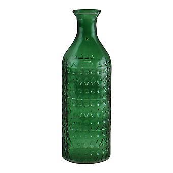 ダークグリーン小さな幾何学的エンボスガラスボトルスタイル花瓶