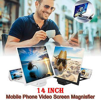 "(White) 14"" Mobile Phone Screen Magnifier 3D HD Video Amplifier Folding Stand Bracket UK"