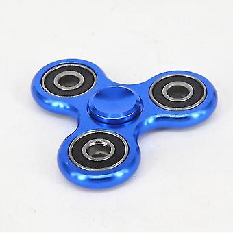 Brinquedo de descompressão gyro de alumínio triangular, brinquedo infantil rotador de mão espiral (Azul)