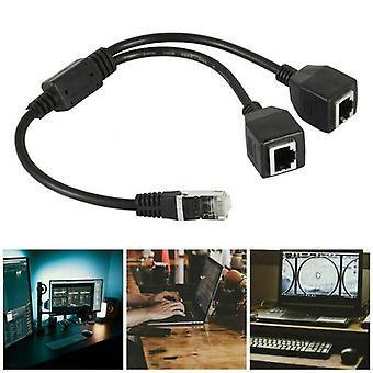 RJ45 מפצל 1 זכר עד 2 מתאם כבלים מאריך רשת Lan Ethernet נקבה