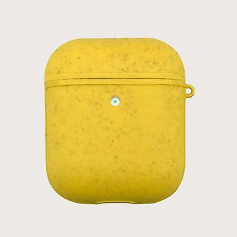 Keltainen ympäristöystävällinen airpods-kotelo