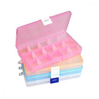 Ryd smykkeskrin, 4 stk. plastjusterbare skillevægge bead øreringsopbevaringsarrangør (flere farver)
