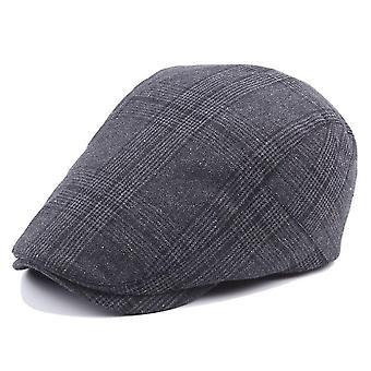 Mannen geruite stof baret platte pet katoen verdikken schilder cap warm