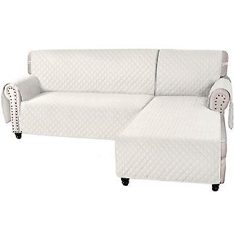 Housse de canapé en forme de l en 2 pièces protecteur antidérapant résistant à l'eau pour chaise de canapé droite / gauche, beige
