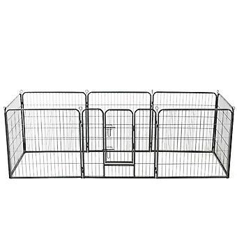 Hvalp hegn 8 paneler stål 80x80 cm sort