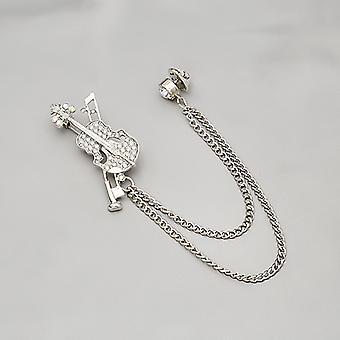 Fashion Cartoon Crystal Flash Diamond Instrument Violin Brooch Badge Accessories Gift