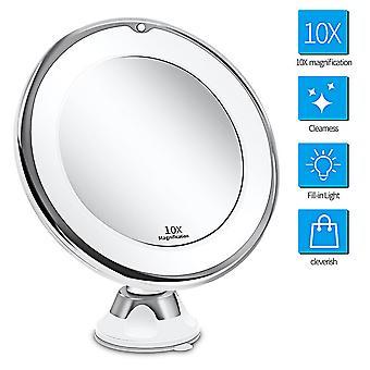 10x vergrootglas make-up spiegel met verlichting, intelligente schakelaar, 360
