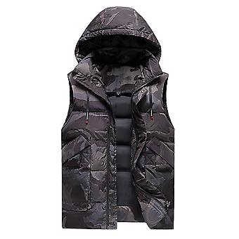 Homemiyn Men's Camouflage Padded Jacket Hooded Cotton Vest Waistcoat