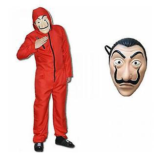 Salvador Dali La Casa Costume Money Heist Jumpsuit+ Facepiece Cosplay