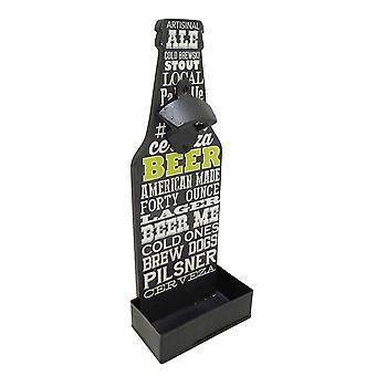 Modern Home Wall Mounted Bottle Opener w/Cap Catcher - Chalk Beer