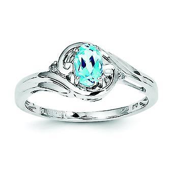 925 Sterling Silver Rhodium belagt diamant og Sky Blue Topaz ring-ring størrelse: 6 til 9
