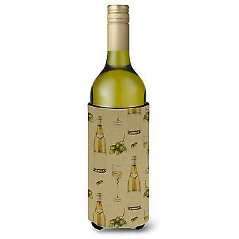 White Wine on Linen Wine Bottle Beverge Insulator Hugger