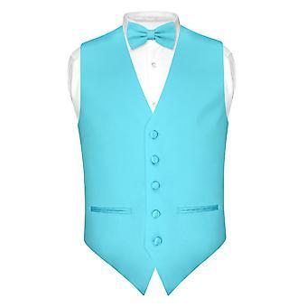 Męska szczupły sprawny sukienka kamizelka BowTie Bow Tie chusteczka zestaw