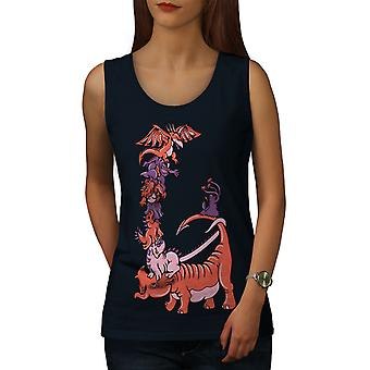 Cartoon Dragon Fantasy Women NavyTank Top | Wellcoda