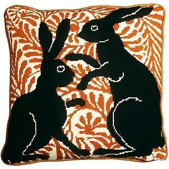 Black Boxing Hares Needlepoint Canvas