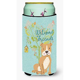 Welcome Friends Brown Staffie Tall Boy Beverage Insulator Hugger