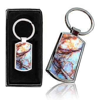 i-Tronixs - Premium Marble Design Chrome Metal Keyring with Free Gift Box (2-Pack) - 0011