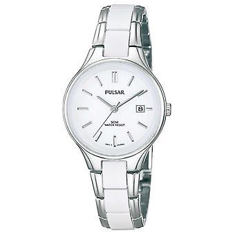 Pulsar Womens' White Ceramic & Stainless Steel White Dial PH7267X1 Watch