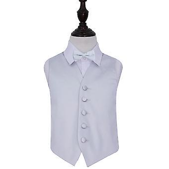 Cintura de la boda de satén liso de plata & Bow Tie Set para Niños
