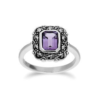 Gemondo argento ametista & Marcasite ottagono Art Nouveau anello