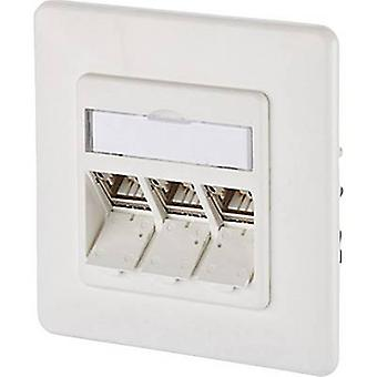 Metz Connect 130B12D31002-E Network outlet Flush mount Insert with main panel and frame CAT 6A 3 ports Pure white