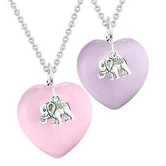 Éléphant Lucky charmes amour Couples meilleurs amis amulettes rose pourpre chats simulé oeil colliers