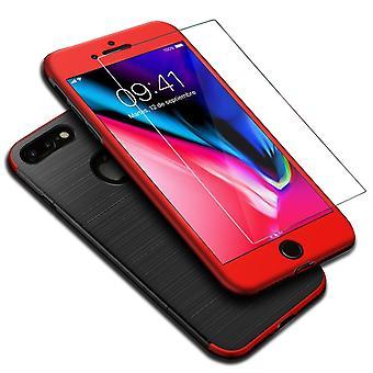 Apple iPhone 7 plus 2 in 1 geval 360 graden volledige dekking geval rood