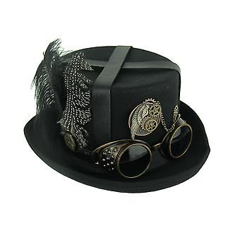 Black Gentlelady Steampunk Riding Hat with Feathers and Goggles