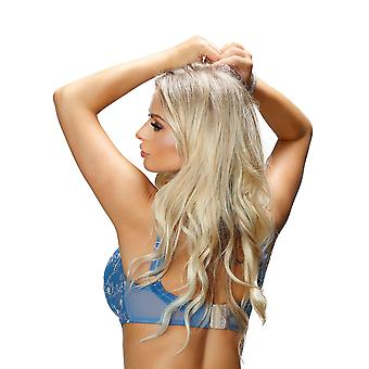 Nessa Women's Simone Blue Floral Embroidered Underwired Full Cup Bra