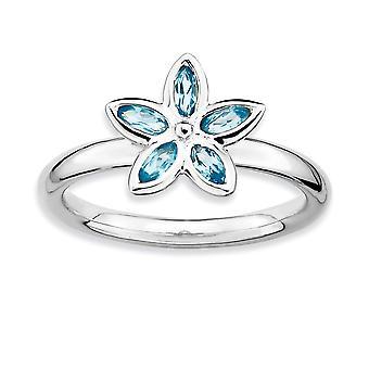 925 הלוח הקדמי של שטרלינג מלוטש רודיום ביטויים כחול טופז פרח טבעת תכשיטים מתנות לנשים-