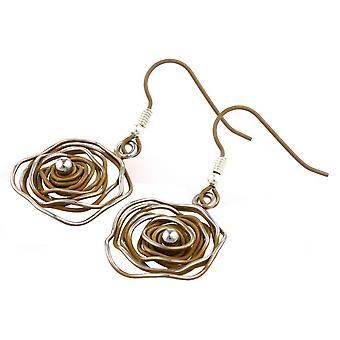 Ti2 Titanium Circular Chaos Earrings - Tan Beige