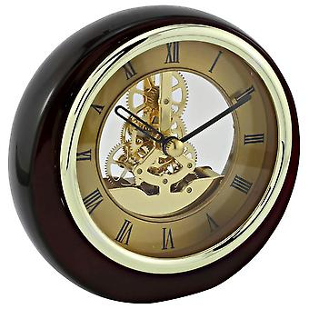 David Peterson Mini Round Skeleton Clock - Gold/Brown