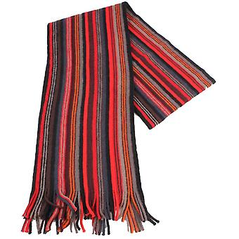 Bassin and Brown Lock Stripe Wool Scarf - Red/Black/Grey