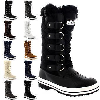 Womens acolchoado chuva rendas até pele forrado quente sapatos pato inverno neve botas UK 3-10