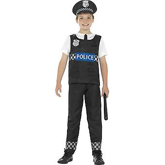 Cop Costume, Black & White, with Top, Trousers & Hat