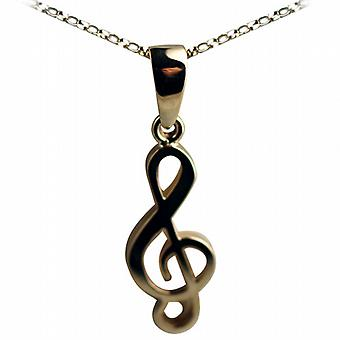 9ct Gold 27x11mm G Clef Pendant with a belcher Chain 16 inches Only Suitable for Children