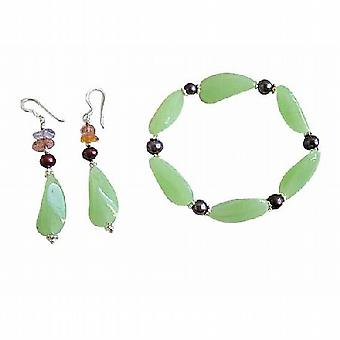 Steretchable bracciale metallico perle Bracciale di perle di vetro verde fantasia